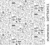 hand drawn home seamless... | Shutterstock .eps vector #1697563411