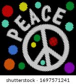 halftone peace banner with...