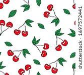 seamless pattern cherries berry ...   Shutterstock . vector #1697572441