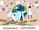 doctor fight virus concept.... | Shutterstock .eps vector #1697595007