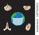planet earth in medical mask.... | Shutterstock .eps vector #1697632621