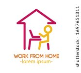 man working from home covid 19... | Shutterstock .eps vector #1697651311