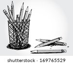 still life with pencils | Shutterstock .eps vector #169765529