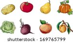 set of fruit and vegetables. on ... | Shutterstock .eps vector #169765799