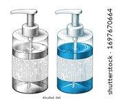 alcohol gel hand draw vintage...   Shutterstock .eps vector #1697670664