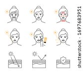 uv rays skin damage and...   Shutterstock .eps vector #1697683951