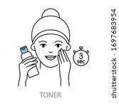 applying toner vector icons...   Shutterstock .eps vector #1697683954