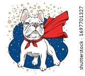 Cartoon White French Bulldog...