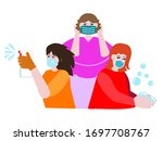 hygiene with wearing a face...   Shutterstock .eps vector #1697708767