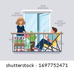 people on balcony  coronavirus...   Shutterstock .eps vector #1697752471