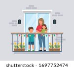 people on balcony  mother with...   Shutterstock .eps vector #1697752474
