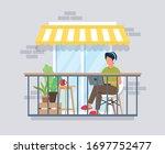 man working on balcony  work... | Shutterstock .eps vector #1697752477
