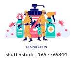 people in full hazmat suits... | Shutterstock .eps vector #1697766844