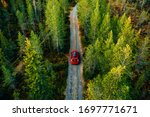 Aerial View Of Red Car For...