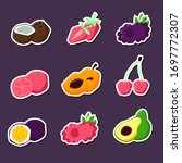 set of summer fruit stickers.... | Shutterstock .eps vector #1697772307