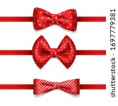 red bow tie with white dots  ... | Shutterstock .eps vector #1697779381