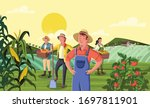 cartoon farmers in front of... | Shutterstock .eps vector #1697811901