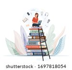 Girl Sitting On Pile Of Books...