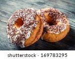 Donuts with chocolate glaze - stock photo