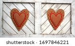 Double Hearts On White Wooden...