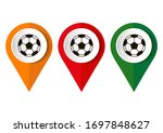 soccer ball and location pin on ... | Shutterstock .eps vector #1697848627