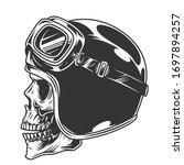 motorcyclist skull in helmet... | Shutterstock .eps vector #1697894257