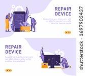 technicians repair big broken...   Shutterstock .eps vector #1697903437