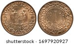 Suriname Surinamese coin 1 one cent 1962, shield with supporters within floral wreath, denomination, date and mint marks within central circle,