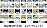 cat seamless pattern face mask... | Shutterstock .eps vector #1697938954