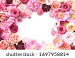 Blush Floral Frame With White...