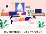 home workout   man doing raised ...   Shutterstock .eps vector #1697970574