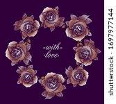roses round frame  floral... | Shutterstock .eps vector #1697977144