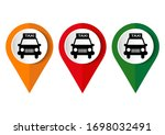 map marker with icon of a taxi  ... | Shutterstock .eps vector #1698032491
