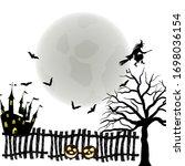 happy halloween greeting card....   Shutterstock .eps vector #1698036154