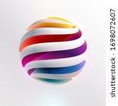 3d colored striped ball. art ... | Shutterstock .eps vector #1698072607