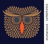 Illustration Of Owl Head With...