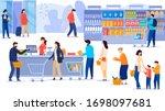 people in supermarket  line at... | Shutterstock .eps vector #1698097681