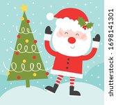 santa and christmas tree... | Shutterstock .eps vector #1698141301