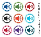 volume speaker icon flat round... | Shutterstock .eps vector #1698148051