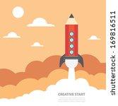 art launch pencil rocket with...   Shutterstock .eps vector #169816511