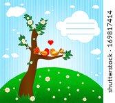 couple birds in love vector   Shutterstock .eps vector #169817414