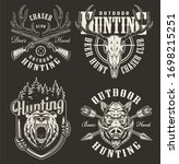 vintage hunting prints with... | Shutterstock . vector #1698215251
