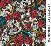 vintage day of dead seamless... | Shutterstock . vector #1698215257