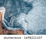 Drone Aerial View Of Frozen...