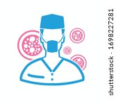 virus and doctor vector icon... | Shutterstock .eps vector #1698227281