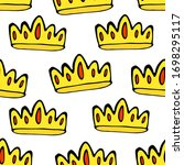 doodle crowns seamless pattern. ... | Shutterstock .eps vector #1698295117
