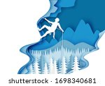 vector layered paper cut style...   Shutterstock .eps vector #1698340681