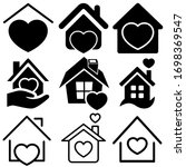 Heart With Home Vector Set....