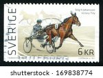 Small photo of SWEDEN - CIRCA 2011: stamp printed by Sweden, shows Trotting, circa 2011