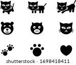 Cute Icon Set Of Cat  Bear  Pig